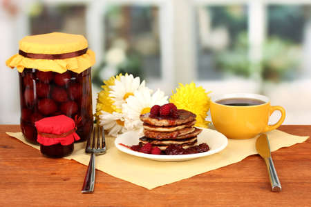delicious sweet pancakes on bright background Stock Photo - 17110871