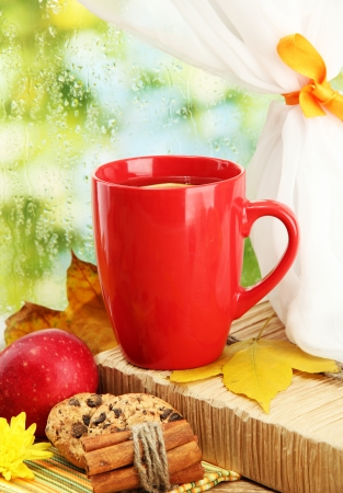 window treatments: cup of hot tea and autumn leaves, on rain background