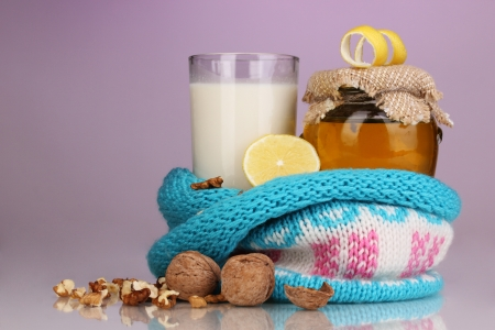 convalesce: Healthy ingredients for strengthening immunity on purple background Stock Photo