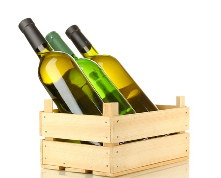 Wine bottles in wooden box isolated on white Stock Photo - 17110366