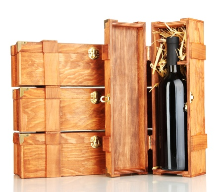 dura: Wooden boxes for wine isolated on white Stock Photo