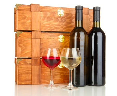 dura: Wooden cases with wine bottles isolated on white Stock Photo