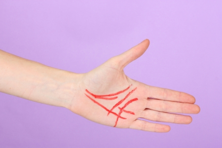 Chiromancy.Color contours on palm, on color background Stock Photo - 17110836