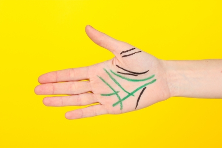 Chiromancy.Color contours on palm, on color background photo