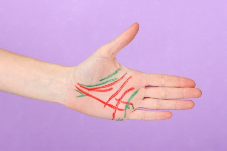 Chiromancy.Color contours on palm, on color background Stock Photo - 17110824