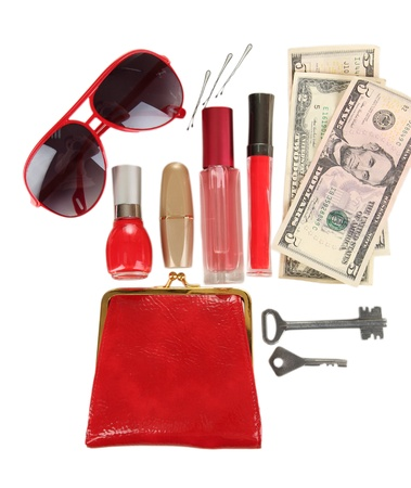 Items contained in the women's handbag isolated on white Stock Photo - 17110489