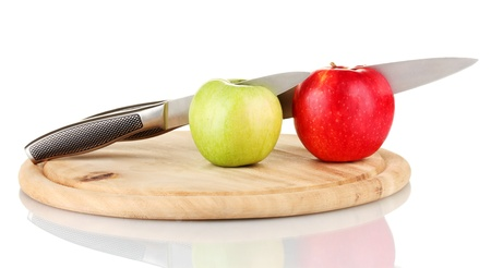 tastyhealth: Red, green  apples and knife on cutting board, isolated on white