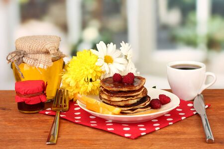 delicious sweet pancakes on bright background Stock Photo - 17138235
