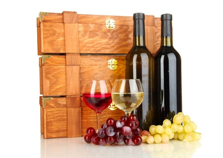 Wooden cases with wine bottles isolated on white Stock Photo - 17138085