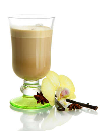 Fragrant coffee latte in glass cup with vanilla pods isolated on white Stock Photo - 17138427
