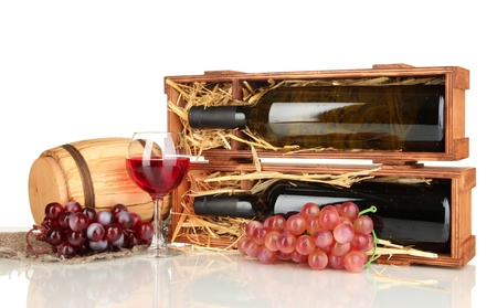 Wooden case with wine bottle, barrel, wineglass and grape isolated on white Stock Photo - 17138892