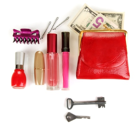 pomade: Items contained in the womens handbag isolated on white Stock Photo