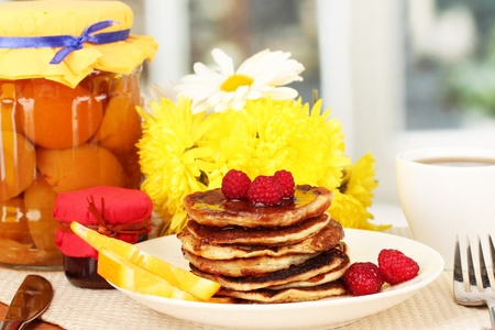 delicious sweet pancakes on bright background Stock Photo - 17188808