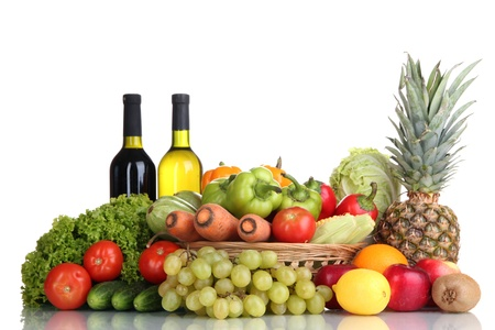 Composition with vegetables and fruits in wicker basket isolated on white Stock Photo - 17185954