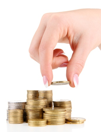 Woman hand with coins, close up Stock Photo - 17183829