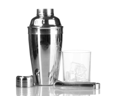 Cocktail shaker and cocktail glass isolated on white Stock Photo - 17183686