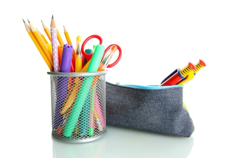 pencil box with school equipment isolated on white photo