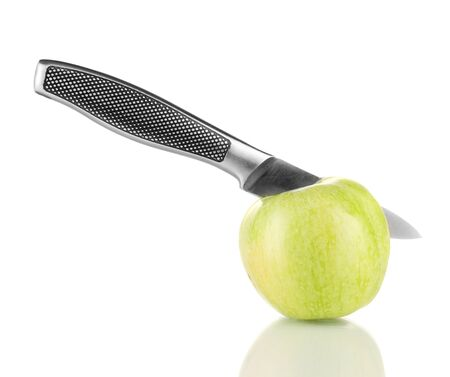 Green apple and knife isolated on white Stock Photo