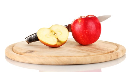 Red apple and knife on cutting board, isolated on white Stock Photo - 17183665
