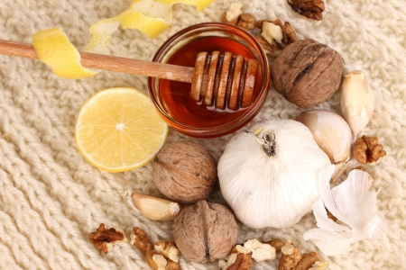 convalesce: Healthy ingredients for strengthening immunity on warm scarf close-up