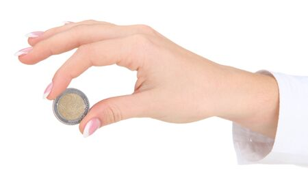 Woman hand with euro coin, isolated on white photo