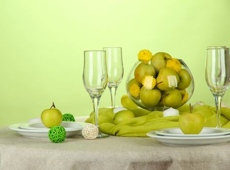 wedding table setting: beautiful holiday table setting with apples, close up