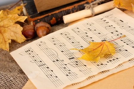 autumn background:romantic letter and leaves photo