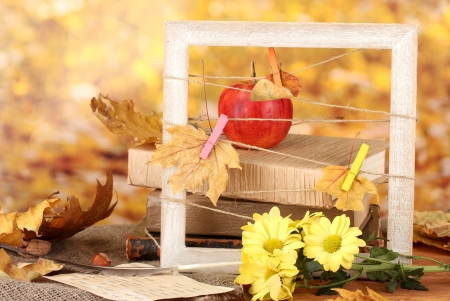 Autumnal composition with flowers, books  and leaves on bright background photo