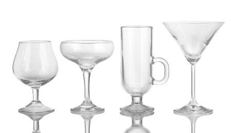 Collection of various glasses isolated on white Stock Photo - 17245332