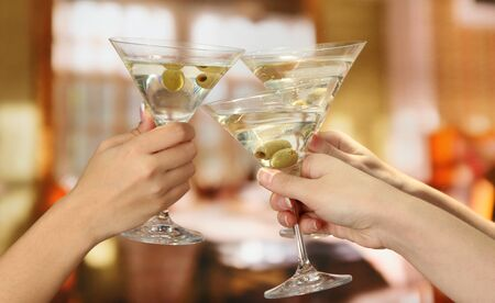 Corporate party martini glasses photo