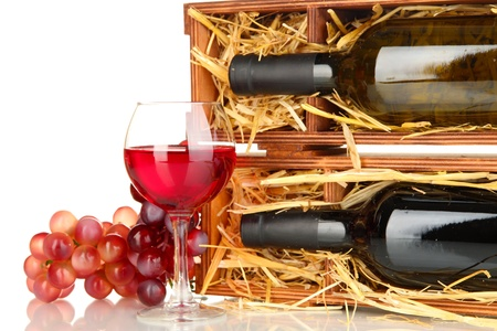 bordeau: Wooden case with wine bottle, wineglass and grape isolated on white