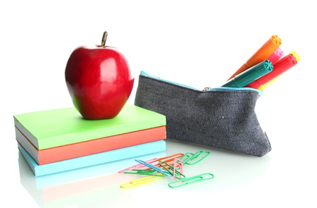 pencil box with school equipment and apple isolated on white Stock Photo - 17245787
