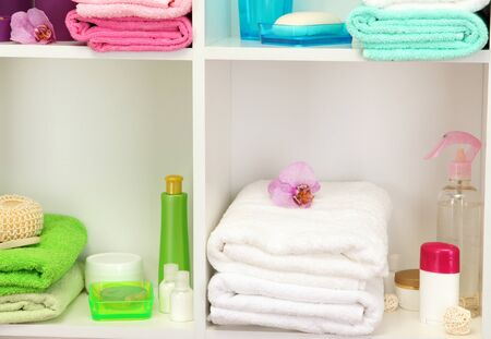 Bath accessories on shelfs in bathroom Stock Photo - 17264512