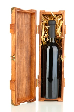 cabarnet: Wooden case with wine bottle isolated on white Stock Photo