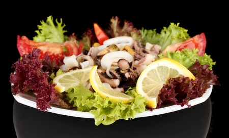 Healthy Seafood Salad with shrimps,octopus and mussels,squids Stock Photo - 17265168