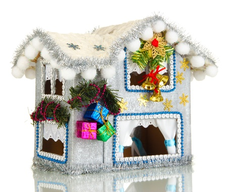 Decorated Christmas house isolated on white Stock Photo - 17265662