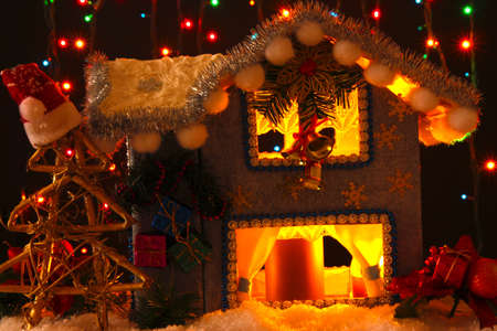 Decorated Christmas house with lights on dark background Stock Photo - 17265858