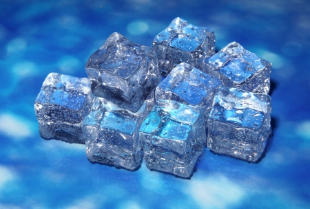 Ice cubes on color background Stock Photo - 17265771