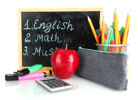 pencil box with school equipment and timetable isolated on white photo