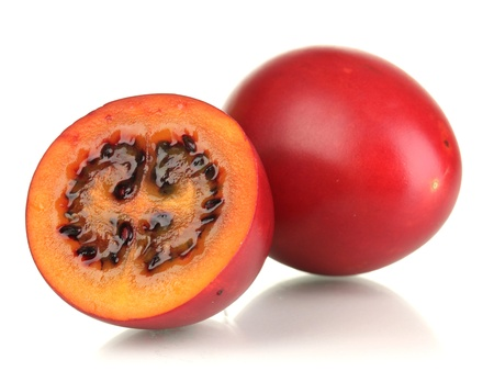 Two ripe tamarillo isolated on white Stock Photo - 17265225