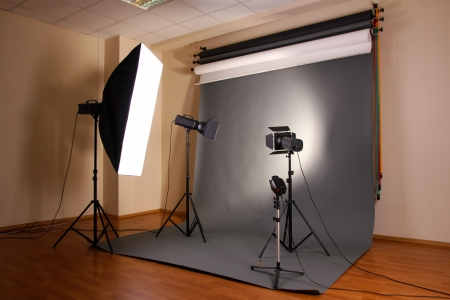 photography studio: photo studio with lighting equipment