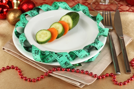 microelements: Dietary food on New Years table close-up Stock Photo