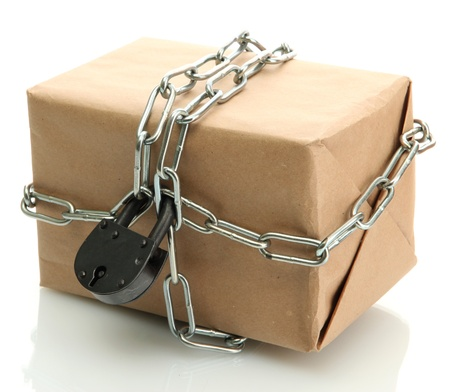parcel with chain and padlock, isolated on white Stock Photo - 17265241