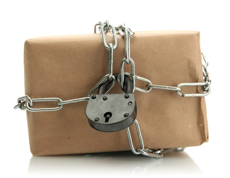 parcel with chain and padlock, isolated on white Stock Photo - 17265247