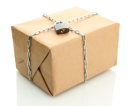 parcel with chain and padlock, isolated on white Stock Photo - 17265165