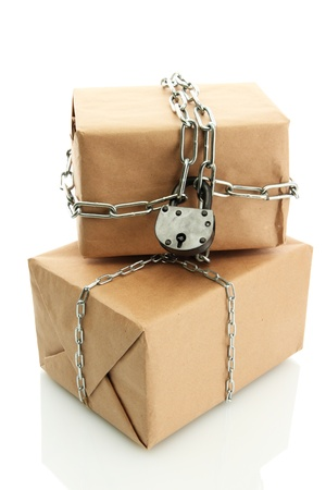 parcels with chains, isolated on white Stock Photo - 17265324