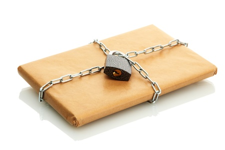 parcel with chain and padlock, isolated on white Stock Photo - 17265185