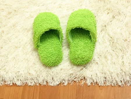 footware: bright slippers, on floor background