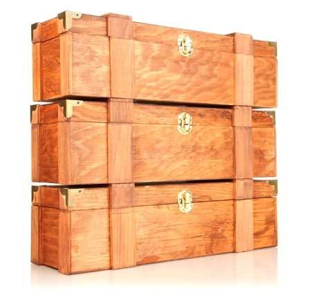 Wooden boxes for wine isolated on white Stock Photo - 17321470