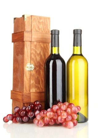 cabarnet: Wooden case with wine bottles isolated on white